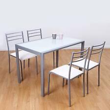 """Conjunto de mesa y 4 sillas """"alfa """" en color blanco"""