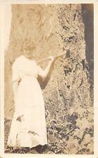 D5/ Interesting Real Photo RPPC Postcard People Woman Lumberjack Giant Tree Ax23