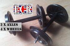 G SCALE 45mm GAUGE RAILWAY 4 BOGIE PLASTIC WHEELS, 2 AXLES, TRUCK & CARRIAGE