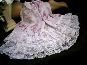 SISSY PINK FLORAL TIERED LACE HALF SLIP PETTICOAT FRENCH LILAC SATIN BOWS  ROSES