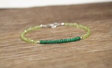 Natural Peridot & Emerald Faceted Gemstone Beaded Bracelet 925 Silver Clasp 19