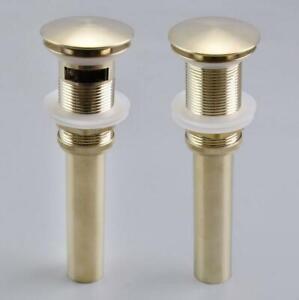 New Brushed Gold Basin Waste Pop Up Drainer Sink Plug Bathroom Click Clack Push