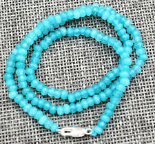 "New 2x4mm Faceted Aquamarine Handmade Gemstone necklace 18 ""Silver clasps AAA"