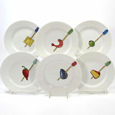 "Crate & Barrel TIDBITS 6.5"" Appetizer Plate Set 6Pc Nancy Green Japan Porcelain"