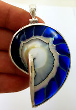 Natural Nautilus Shell 925 Sterling Silver Blue Pendant Women Jewelry SC182-L