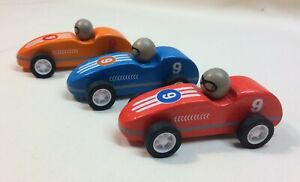 Pull and Go Racers Wooden Toy Race Cars Kids 3 and Up Bright Colors Sturdy Play
