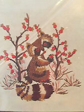 Lee Wards Crewel Embroidery Winsome Raccoon 1976 Picture Pillow Top Kit New