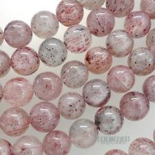 "20 Natural Pink Genuine Strawberry Quartz Round Beads 10mm 8"" #21176"