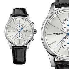 Hugo Boss 1513282 Silber Edelstahl Herrenuhr Schwarz Leder Armbanduhr