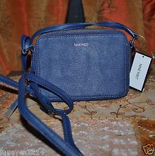 9 Nine West Pacific Blue Leather like Handbag SwingPack built wallet Blecker NWT