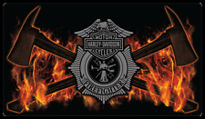 Fire Axes Harley-Davidson Tin Sign, H-D Embossed Sign Black & Orange 211