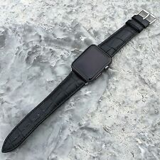 BLACK GENUINE LEATHER Crocodile Croc Strap Band for Apple Watch iWatch 42mm