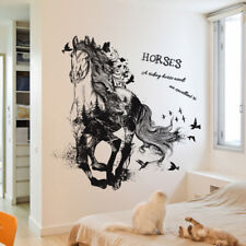 Black Run Of Horse Removable Cartoon Wall Stickers Living Room Sofa Background