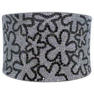 13ct Black & White Sim Diamond Women Wide Floral Cuff Bracelet 14k White Gold Fn