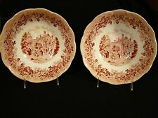 Pair of J & G Meakin Romantic England Pink Transfer Leicester Hospital Bowls