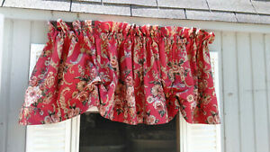 MARSEILLES BY RALPH LAUREN Adjustable Valance-RINGS ON THE BACK-COTTON RED FLORA