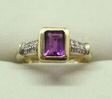 Lovely 9 Carat Gold Amethyst And Diamond Ladies Dress Ring Size L