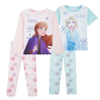 Disney Frozen Girls Pyjamas, Anna and Elsa 2 Pack Pjs Sets