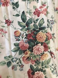 """New Croscil Shower Curtain 72"""" X 75"""" Older Design  Flowers and Stripes"""