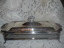 Vintage Italy SilverPlate ClawFooted Rectangular Chafing Dish Serving Set 2-Hndl