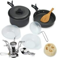 Camping Stove Cookware Outdoor Backpacking Hiking Picnic Cooking Equipment Pots
