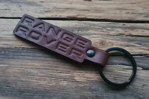 Handmade Embossed Brown Leather Keychain Keyring for Range Rover Key Fob