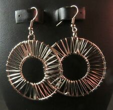 NWT Silver Wire Wrapped Circle Dangle Earrings with Hook Wires