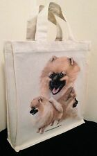 Pomeranian Natural Cotton Small Fun Party Bag Tote with Gusset Useful Gift
