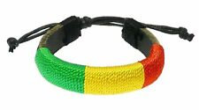 Leather & Cord Bracelet Wrapped In Rasta Colours Red Yellow & Green Cord Surfer