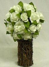 CREAM IVORY Rose TOPIARY Wedding Bouquet Silk Artificial Flower Centerpiece