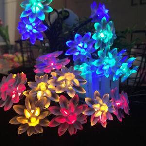 50 LED Solar Lichterkette Blumen Weihnachten Außenbeleuchtung Party Garten Deko