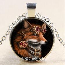 New Cabochon Glass Silver/Bronze/Black Chain Pendant Necklace(Fox Steampunk)