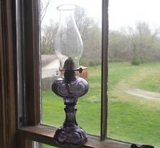 1880 AMETHYST GLASS BULLSEYE PATTERN OIL LAMP W/PIE CRUST CHIMNEY WORKING COND.