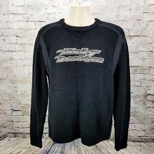 Harley Davidson - Men's Medium - Wool L/S Pullover Sweater - Black - Spell Out