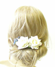 2x Ivory White Rose Blue Gypsophila Flower Hair Pins Bridal Bridesmaid Clip 1259
