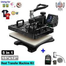 15x12 5 In 1 Heat Press Machine Printer Transfer Sublimation T Shirt Mug Hat