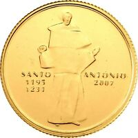 Portugal Quarter Euro 2007 Santo Antonio Goldmünze Stempelglanz in CoinCard