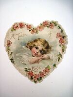 Precious Vintage Valentine In The Shape of a Heart w/ Sweet Little Girl  *