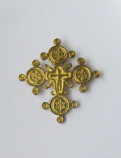 "Old Hutsul 3D Cross Pendant, Regular Brass, 1 1/4"",Crucifixion,Bale on Back"