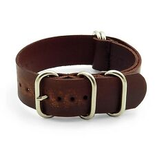 StrapsCo Brown Distressed Faded Vintage Leather Mens Watch Band Strap