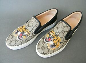 Gucci GG Supreme Tiger Canvas Slip-on Sneakers Mens Shoes 9UK 9.5US