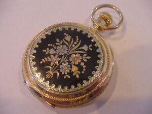 MUSEUM QUALITY 1890 18k ENAMELED MULTICOLORED GOLD HUNTING CASE! MINTY! AWESOME!