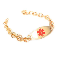 MyIDDr - Engraved Peanut Allergy ID Bracelet, Steel Rose ID & O-Link Chain