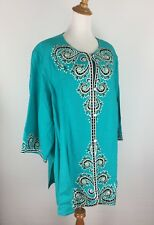 NWT Bob Mackie QVC Womens 3X Turquoise Green Multi Color Embroidery Jacket B5