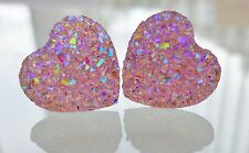 Small Sparkly Pink AB Heart Crystal Diamante Diamond Earrings