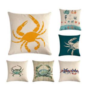 Crab Throw Pillow Covers Ocean Beach Pillowcase Sea Animal Coast Cushion Cover