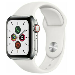 Apple Watch Series 5 44mm GPS Cellular Stainless Steel Silver White Sport Band