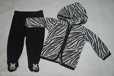 Baby Girls Set BLACK WHITE ZEBRA PRINT Zip Up FLEECE JACKET Footed Pants 0-3 MO