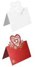 WEDDING PARTY RED PEARLESCENT LACE EFFECT LOVE HEARTS PLACE CARDS TABLE NAME