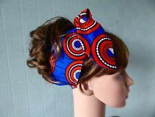 African hair scarf, blue/jorange headband, wax cotton bandana, Ankara print wrap